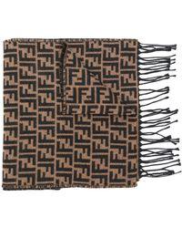 Fendi Ff Logo Knit Scarf - Коричневый