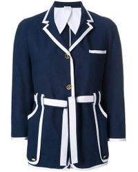 Thom Browne - Sack Jacket With Grosgrain Tipping In Salt Shrink Cotton - Lyst