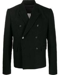 Rick Owens Manteau ajusté à boutonnière croisée - Noir