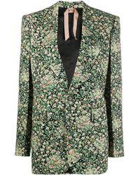N°21 Блейзер С Цветочным Принтом - Зеленый