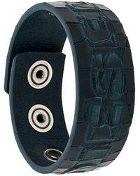 DIESEL Croc-effect Snap Button Bracelet - Blue