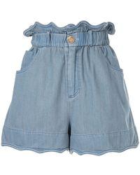 Sea Gathered Denim Shorts - Blue