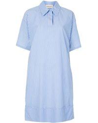 PORTSPURE ピンストライプ シャツドレス - ブルー