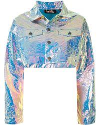 Haculla Cropped Metallic-effect Jacket - Blue
