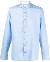 Hackett Cotton-linen Blend Shirt - Blue