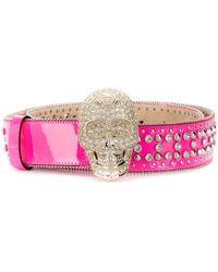 Philipp Plein Crystal Skull Belt - Pink