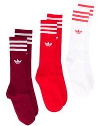 adidas Set 3 paia di calzini Crew - Rosso