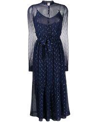 Saint Laurent Прозрачное Платье С Эффектом Металлик - Синий