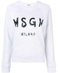 MSGM Logo Print Sweatshirt - Серый