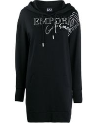 EA7 Logo-print Hooded Longline Sweatshirt - Black