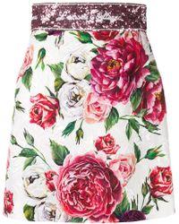 Dolce & Gabbana - Rose Print Brocade Mini Skirt - Lyst