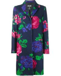 MSGM | Floral Single Breasted Coat | Lyst