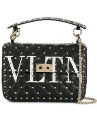Valentino - Black Vltn Rockstud Spike Leather Shoulder Bag - Lyst