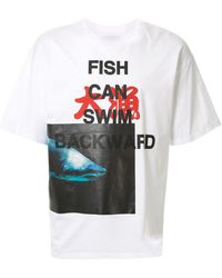 Yoshio Kubo Oversized Shark Print T-shirt - White