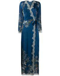 Carine Gilson Floral Silk Robe - Blue