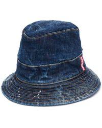 DSquared² Sombrero pescador vaquero con salpicaduras de pintura - Azul