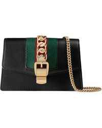 Gucci Sylvie Leren Mini-ketting Tas - Zwart