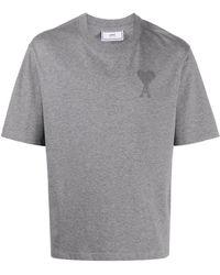 AMI Футболка С Вышитым Логотипом - Серый