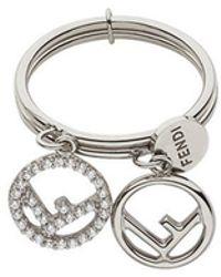 Fendi - Double Logo Charm Ring - Lyst