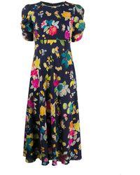 Etro Платье Миди С Цветочным Принтом - Синий