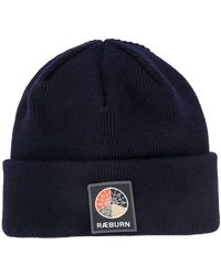 Raeburn Ribbed-knit Logo Patch Beanie - Blue