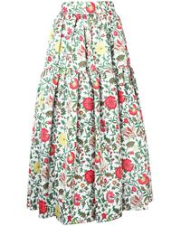LaDoubleJ Tiered Floral Skirt - Белый