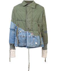 Greg Lauren Distressed Hooded Jacket - Groen
