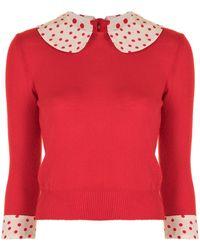 Louis Vuitton Jersey con ribete con motivo de lunares pre-owned - Rojo