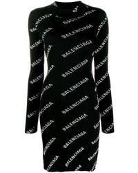 Balenciaga ニットリブミニドレス - ブラック