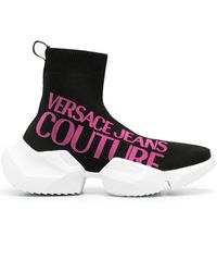 Versace Jeans Couture - ロゴ ソックスブーツ - Lyst