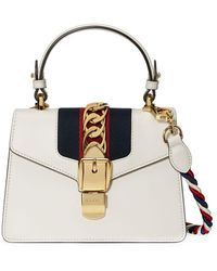 Gucci White Sylvie Small Leather Shoulder Bag - Wit