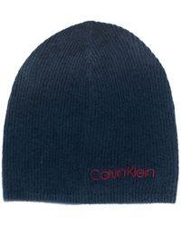 Calvin Klein Knitted beanie hat - Blu