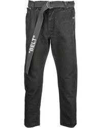 Off-White c/o Virgil Abloh Cropped Belted Jeans - Black