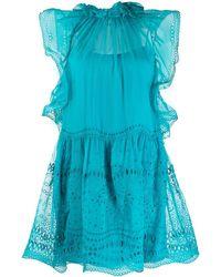 Alberta Ferretti アイレットレース ドレス - ブルー