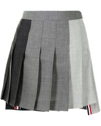 Thom Browne Dropped Back Mini Pleated Skirt Funmix - グレー