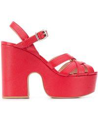 Miu Miu Crossover-strap Platform Leather Sandals - Red