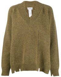 Maison Margiela Distressed V-neck Sweater - Blue