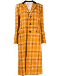 Marni Однобортное Пальто В Клетку - Оранжевый