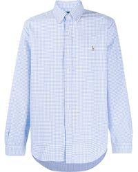 Polo Ralph Lauren Gingham check logo embroidered shirt - Blu