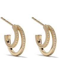 Georg Jensen 18kt Yellow Gold Halo Brilliant Cut Diamond Hoop Earrings - Metallic