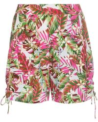 All Things Mochi Tropical Print Side Tie Cotton Shorts - Roze