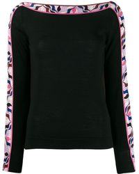 Emilio Pucci Abstract Print Detail Sweater - Black