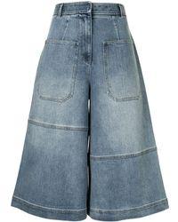 Tibi Long Cargo Denim Shorts - Blue