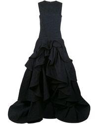 Oscar de la Renta Tiered-skirt Cloqué Gown - Blue