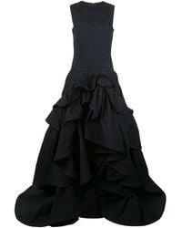 Oscar de la Renta Stufiges Abendkleid - Blau