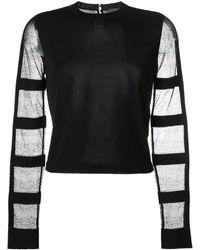 Alexander McQueen Блузка С Прозрачными Рукавами - Черный
