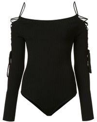Cushnie et Ochs Body à design à lacets - Noir