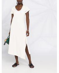 Brunello Cucinelli Платье-футболка Асимметричного Кроя - Белый