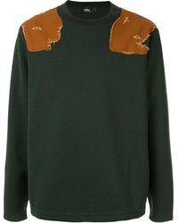 Kolor Contrast Shoulder Panel Sweater - Green