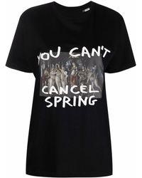 MOA Slogan-print Organic Cotton T-shirt - Black